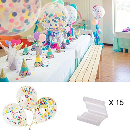 "Sparklelife 5Pcs 36"" Clear Party Balloons+ 10 Pcs 12"" Clear Confetti Jumbo Giant Latex Balloon Paper Balloons Crepe Paper for Wedding or Party Decorative"
