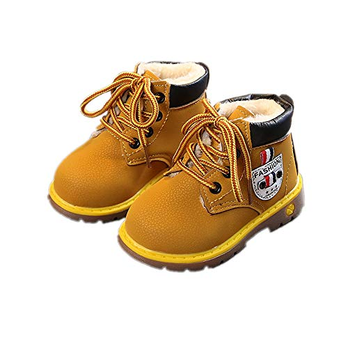 Kids Boys Girls Fur Lined Classic Ankle Boot Lace-up Workboots Anti-Slip Outdoor Snow Booties(Toddler/Little Kid)