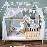 Alcube Hausbett-Deko, mit Baldachin, Lichterkette und Wimpel in grau-weiß, Himmel aus 2 riesigen Stoffbahnen je 160x290cm geeignet als Dekoration für Hausbetten von 160 bis 200 cm - 6