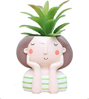 WISH HALLY WOOD Green Stripe Girl Succulent Planter Pots for Office House Balcony Landscape Creative Decorative Flower Pots (Green Stripe Girl)