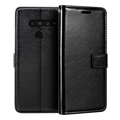 Capa carteira para LG V50 ThinQ 5G, capa flip magnética de couro sintético premium com suporte para cartão e suporte para LG V50 ThinQ