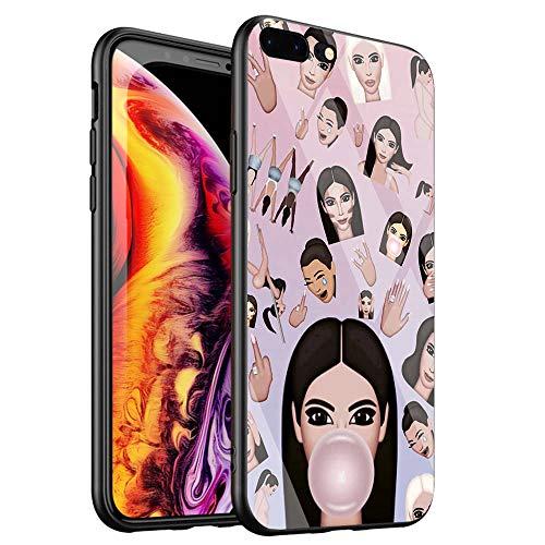 DTYZL - Cover posteriore in vetro temperato per iPhone 6/6s, con struttura in silicone TPU e gomma morbida per resistere ai graffi e alle cadute DT-53, Kimoji Kim Kardashian North Kylie Jenner