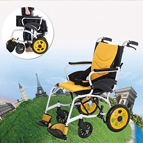 BOC Leicht faltbaren Rollstuhl, Hand Aluminium Rollstuhl, Leichtes High-End faltbaren Rollstuhl, Geeignet für Innen- und Außenanwendungen, für ältere Menschen, Behinderte Yellow1,Gelb