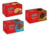 Digestivo de McVitie | Paquete de degustación exclusivo | 3 mezcla | Combinación de galletas de trigo | chocolate negro | Chocolate con leche | integral