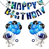 Astronaut Balloons Party Banner Set,Space Man Foil Mylar Balloon Latex Balloon Set for Outer Space Themed Birthday Party Decorations,Happy Birthday Party Supplies