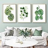 Peint Aquarelle Plantes Vertes 3 Peinture Sur Toile, Nature Paysage Affiches Et Gravures À La Feuille Vertes, Décor À La Maison Art 60x80cmx3 No Frame