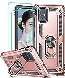 LeYi Funda Samsung Galaxy A51 con [2-Unidades] Cristal Vidrio Templado,Armor Carcasa con 360 Grados Anillo iman Soporte Hard PC y Silicona TPU Bumper Antigolpes Case para Movil A51,Oro Rosa