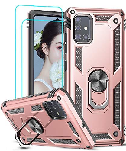 LeYi Funda Samsung Galaxy A51 5G con [2-Unidades] Cristal Vidrio Templado,Armor Carcasa con 360 Grados Anillo iman Soporte Hard PC Silicona TPU Bumper Antigolpes Case para Movil A51 5G,Oro Rosa