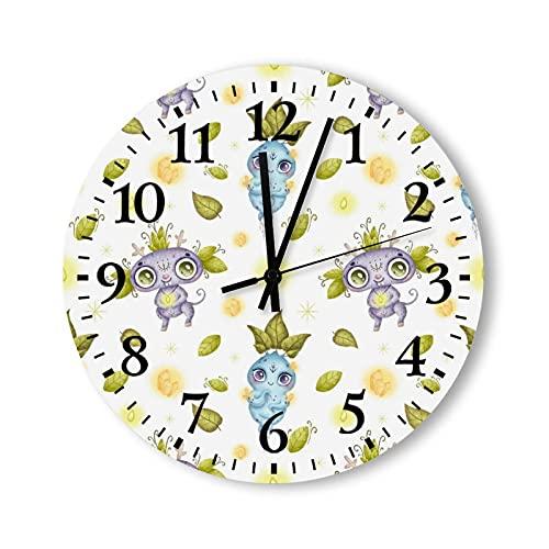Reloj de pared de madera, 15 pulgadas, funciona con pilas, con dibujos animados, monstruos mágicos de bosque mágico, vintage, reloj de pared para habitaciones de niños, dormitorios y adolescentes