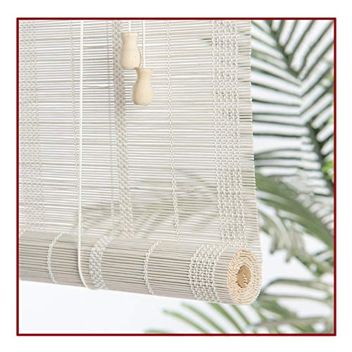 QIANDA Persiana de Bambú,Blanco Ventana Persianas Enrollables Filtrado Luz Pantalla De Privacidad Sala Partición para Sala Cuarto Oficina, Talla Personalizable (Color : A, Size : 150X220cm)
