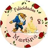OBLEA de LA Bella Y LA Bestia Personalizada con Nombre y Edad para Pastel o Tarta, Especial para cumpleaños, Medida Redonda de 20cm de diámetro