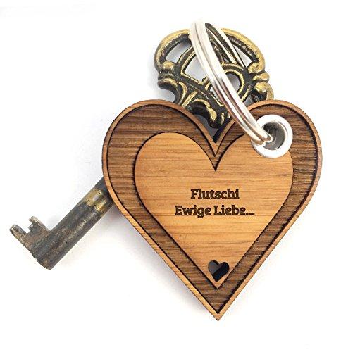 Mr. & Mrs. Panda Schlüsselanhänger Flutschi Herz - 100% handmade aus Bambus - Valentinstag Herz, Liebe, Herzchen, verliebt Schlüsselanhänger Anhänger Glücksbringer Geschenke Schlüsselbund Herz, Liebe, Herzchen, verliebt