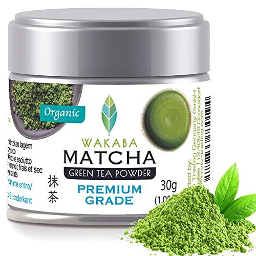 WAKABA - Polvo orgánico de 30 g [Premium Grade]Producido por Matcha Café Wakaba – Auténtico matcha orgánico (DE-ÖKO-013) , sin aditivos, vegano, puro natural-Perfecto para el Matcha Latte