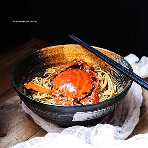 ZXW 7,5 Zoll Keramik Suppenschüssel, japanische große Schüssel Trompete Schüssel | Geeignet für Ramen Bowl Retro Tableware Bucket Bowl