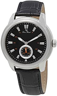 Lucien Piccard Men's 'Duval' Quartz Stainless Steel and Leather  Watch, Color:Black (Model: LP-40032-01)