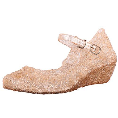 Tyidalin Nia Bailarina Zapatos de Tacn Disfraz de Princesa Zapatilla de Ballet para 3 a 12 Aos EU28-33(Color: Prpura,Gold,Plata) (EU 24(Talla del Fabricante 26), Gold)