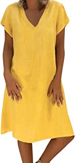 Dress for Women, Botrong Summer Style T-shirt Cotton Casual Plus Size Ladies Dress X-Large Yellow