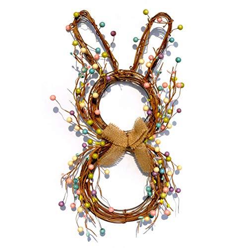 KUTO Ghirlanda di coniglietti pasquali in rattan, realizzata a mano, con bacche, ghirlanda di conigli colorati da appendere, decorazione pasquale