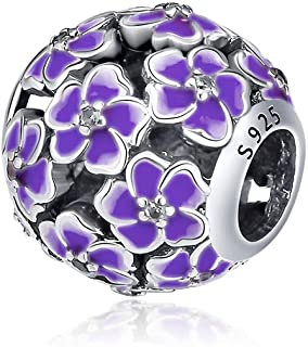DIY Floral Fit for Pandora spacers Bracelet 925 Sterling Silver Colorful Flower Series Charms Bead for Women Jewelry