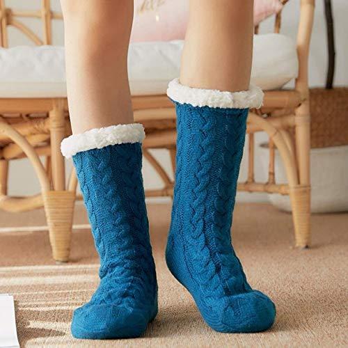Nuevos Calcetines de Invierno para Mujer, además de algodón Grueso, calcetín cálido Antideslizante, calcetín sólido para Dormir, Feliz Navidad, Regalo para niña, calcetín para el Suelo-Style 1 Blue