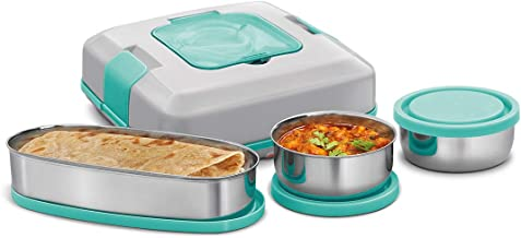 Milton FLATRON Electric Tiffin Stainless Steel Spill-Proof Lunch Pack, Green