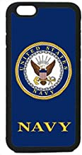 CellWorld LLC - US Navy USN Logo Military Rubber Silicon Black Case Cover for New Apple iPhone 6 / 6S (4.7 inch) Includes 2 Screen Protectors, Ships from Florida