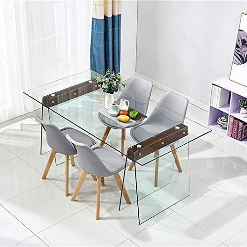Tavolo da Pranzo Cucina Soggiorno Salotto Salone Studio Consolle in Vetro Temperato E Legno Arredo Arredamento Design Moderno Ed Elegante Sao Paolo - (180 x 90 x 76 cm)