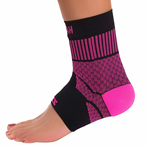 Zensah Ankle Support - Compression Ankle Brace - Great for Running, Soccer, Volleyball, Sports - Ankle Sleeve Helps Sprains, Tendonitis, Pain, Neon Pink, Medium