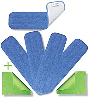 Microfiber Heavy Duty Mop Pad Replacement Heads for Wet or Dry Floor Cleaning and Scrubbing — Commercial Grade Fabric Weig...
