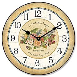 Emilie Floral Wall Clock, Available in 8 Sizes, Most Sizes Ship 2-3 Days, Whisper Quiet.