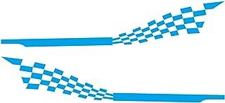 OUYAWEI 2pcs 215x30cm Both Sides Car DIY Checkered Flag Stickers Racing Stripes Wrap Vinyl Film Car Stickers blue Auto Accessories