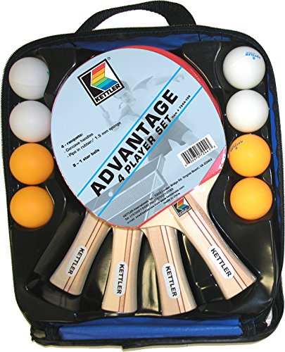 Cheap Kettler Advantage Indoor Table Tennis Bundle: 4 Player Set (4 Rackets/Paddles and 8 Balls)