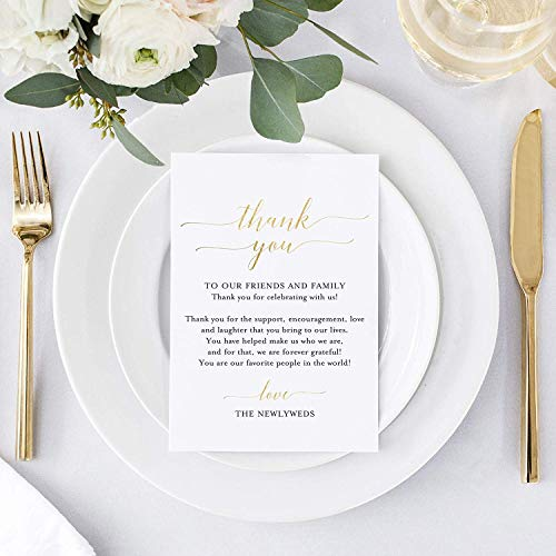 Bliss Collections Wedding Reception Thank You Cards - Pack of 50 Real Gold Foil Cards - Great Addition to Your Table Centerpiece, Place Setting, Wedding Decorations, Each Card is 4x6, Made in The USA