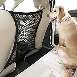 rabbitgoo Dog Car Net Barrier,13.98″ × 15.55″, Metal Hooks & Stretchable Mesh Obstacle, Back Seat Net Organizer, Design for Pet Disturb Stopper & Storage Pouch, Drive Safely with Children & Pets