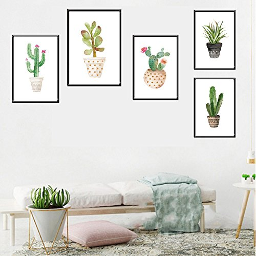 bdrsjdsb Topf Kaktus Bonsai rahmenlose Wandmalerei Wohnzimmer Home Decor 4# 20 * 25 cm
