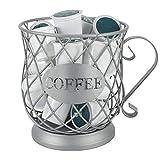 GJCrafts Cesta de Almacenamiento de café, Soporte para cápsulas de café Simple de Estilo Europeo Adecuado para Tassimo, Nespresso, Dolce Gusto 7.28 * 5.5in (Plata)