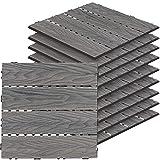 SunnyRoyal Dect Tiles Hardwood Solid Teak Wood and Easy to Install Interlocking Flooring Tiles Patio Flooring in Grey 1 Pack (9 Slat/Pk)
