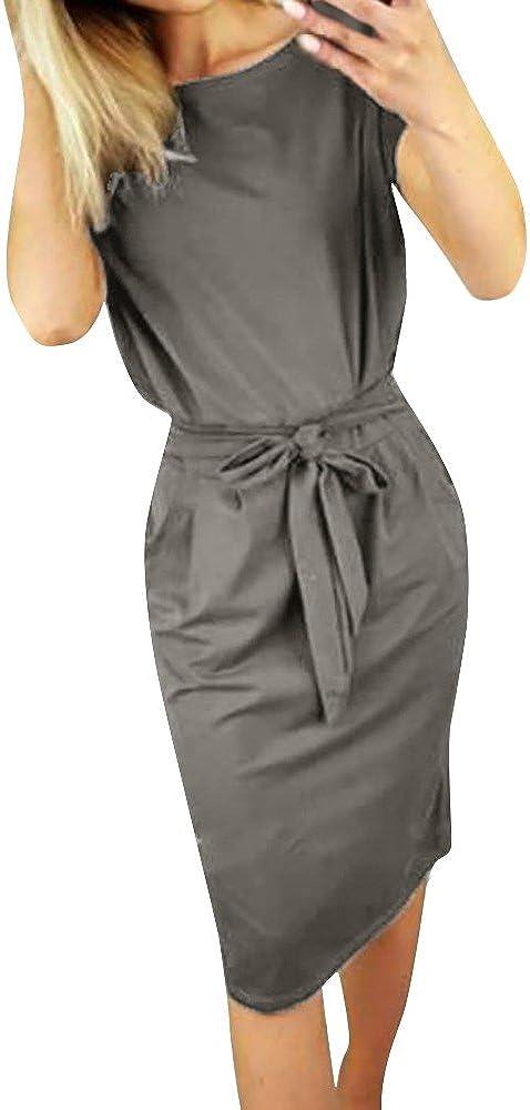 NREALY Dress Women's Casual Pocket Summer Ladies Short Sleeve Evening Party Mini Falda