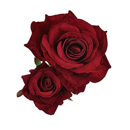 Casue Doppelte Rosen Blumen Haarnadel Haarblume Clip Blumen Haarspangen Blumen Pin Up Braut Hochzeit Haarschmuck für Kinder Frau