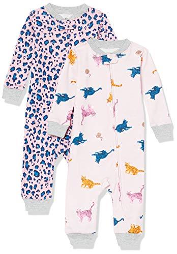Amazon Essentials Baby Girls' Snug-Fit Cotton Footless Sleeper Pajamas, 2-Pack Cat, 24 Months