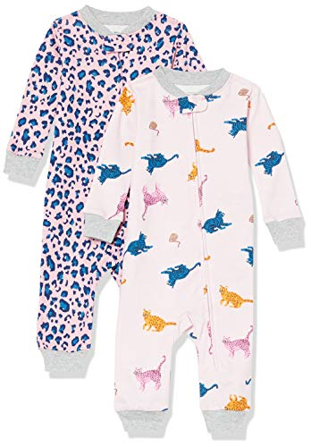 Amazon Essentials Baby Girls' Snug-Fit Cotton Footless Sleeper Pajamas, 2-Pack Cat, 24 Months