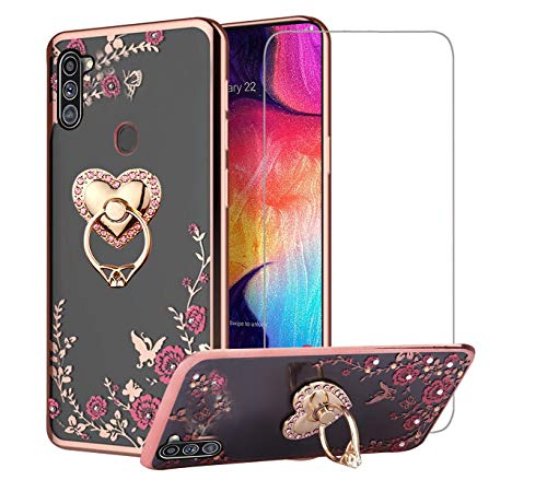 EBESTAR Case for Samsung Galaxy A11 Case with Screen Protector, Bling Diamond Glitter Silicone Flexible TPU Soft Slim Bumper Metal Kickstand Ring Holder Clear Cover with Tempered Glass, Heart
