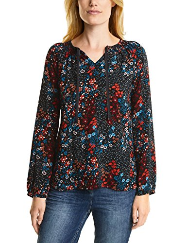 Cecil Flower Blouse Camicia, Schwarz (Black 30001), Small Donna