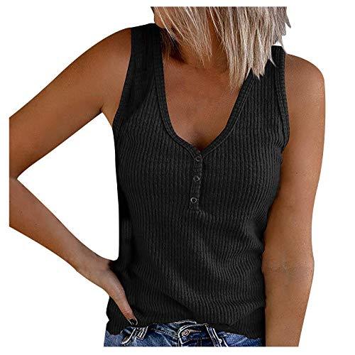 Camiseta sin mangas con cuello en V profundo para mujer, sin mangas, con botones, casual, sólido, blusa sexy