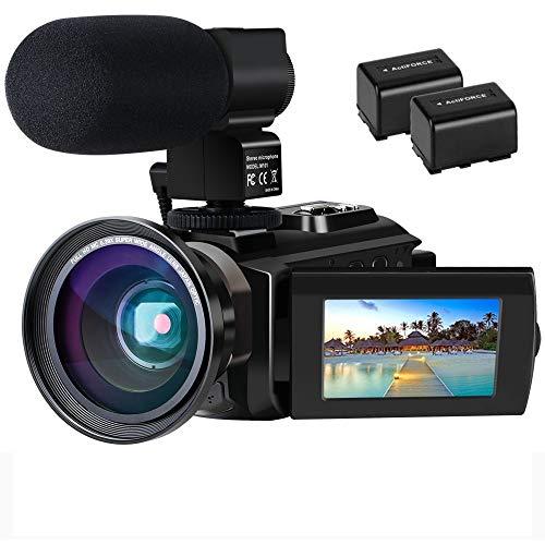 Videokamera 4K Camcorder Ultra HD Wi Fi Digitalkamera 48MP IR Nachtsicht 16X Digitalzoom Recorder 30 IPS Touchscreen Vlog Kamera fur YouTube mit Mikrofon Weitwinkelobjektiv 2 Batterien