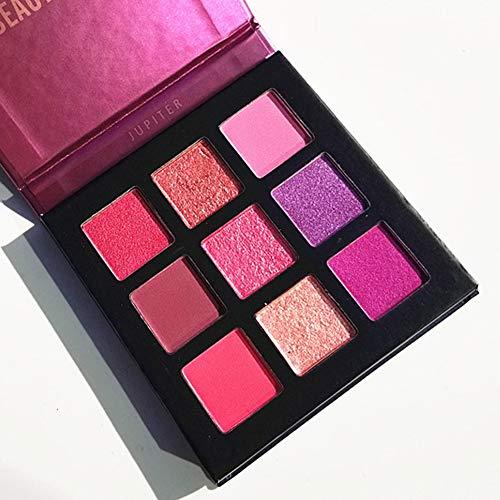 Pressed Eyeshadow Palette,ROMANTIC BEAR Kit de mini fard à paupières professionnel de palette de maquillage métallisé scintillant de 9 couleurs (Violet)