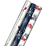 Hallmark Christmas Wrapping Paper with Cut Lines on Reverse (3 Rolls: 120 sq. ft. ttl) Snowy Village, Starry Snowflakes, Birch Trees & Cardinals
