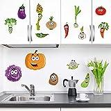 decalmile Pegatinas de Pared Cocina Vegetal Vinilos Decorativos Calabaza Patatas Adhesivos Pared Comedor Sala Salón Armario
