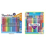 Paper Mate Gel Pens, InkJoy Pens, Medium Point, Assorted, 14 Count & Mate Flair Felt Tip Pens, Medium Point (0.7mm), Assorted Colors, 24 Count