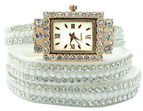 Horloge 4618 – Enveloppement Montres Bracelet avec Strass designer Watches. Glamour Wrap Bracelet Watch (White)